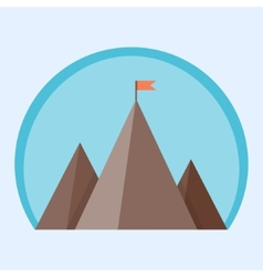 Flat mountain peak with flag vector