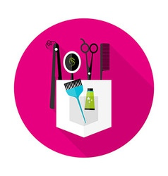 Hair stylist circle icon with long shadow vector