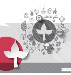 Paper and hand drawn leaf emblem with icons vector