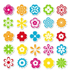 Set of bright flower stickers vector