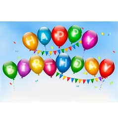 Happy birthday balloons holiday background vector