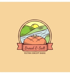 Bread and salt hand drawn vintage badge vector