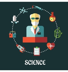 Different sciences flat concept vector