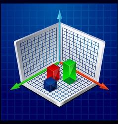 3d business graph or diagram vector