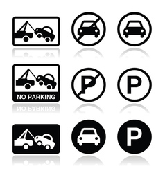 No parking parking forbidden sign vector