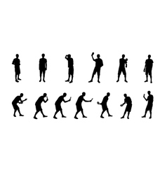 Set of silhouettes of people playing ping pong vector
