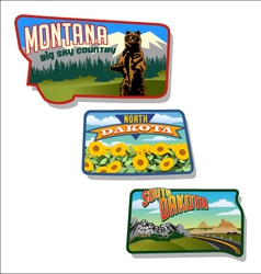 Retro of montana and dakotas vector