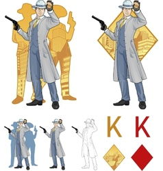 King of diamonds caucasian police chief and people vector
