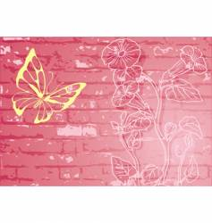 Butterfly with floral wall background vector