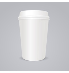 Empty coffee paper cup with lid vector