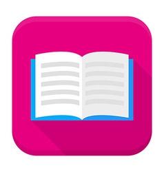 Open book app icon with long shadow vector