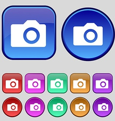 Digital photo camera icon sign a set of twelve vector