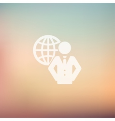 Man with global in flat style icon vector