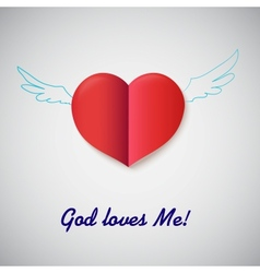 Heart cut out of paper with inscription god loves vector