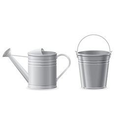 Metal bucket and watering can vector