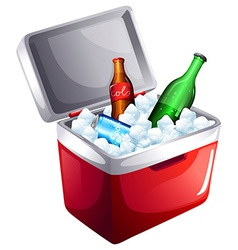 A cooler with softdrinks vector