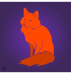 Red sitting fox silhouette vector