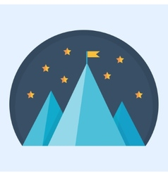 Blue mountain peak with flag vector