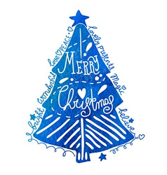 Watercolor christmas tree with greeting text vector
