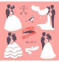 Set of elegant wedding couples in silhouette vector