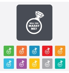 Marry me ring sign icon engagement symbol vector