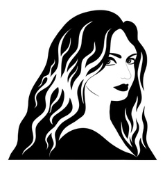 Black-and-white beautiful woman vector
