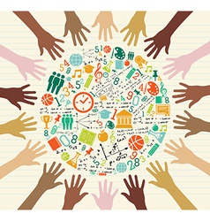 Education global icons human hands vector