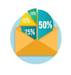 Open envelope with business pie chart vector