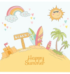 Summer beach card - with place for your text vector