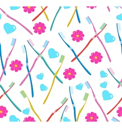 Seamless pattern with tooth brush vector