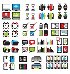 Set web computer icons vector
