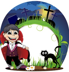 Vampire and black cat on a cemetery vector