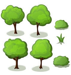 Trees set green cartoon vector