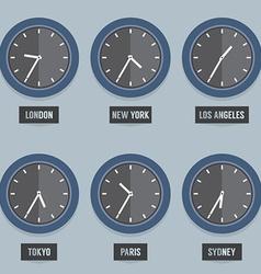 Set of capital city times clock vector