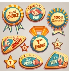 Set of colored brightly badges with hand vector