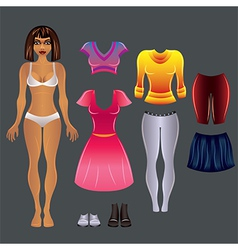Barbie black clothes set vector