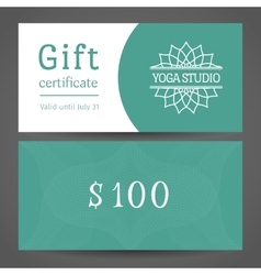 Yoga studio gift certificate template vector