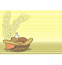 Basket of breads vector