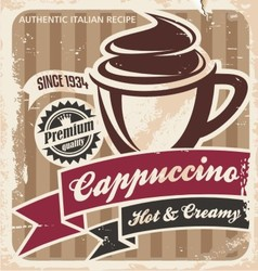 Vintage cappuccino poster vector