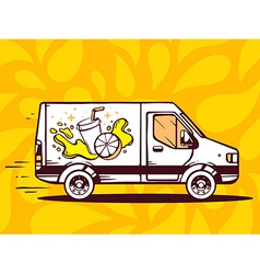 Van free and fast delivering fresh fruit vector