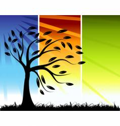 Tree silhouette color background vector