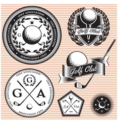 Set of emblems to topic golf game vector