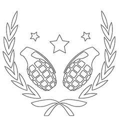 Grenades and stars in laurel wreath line-art vector
