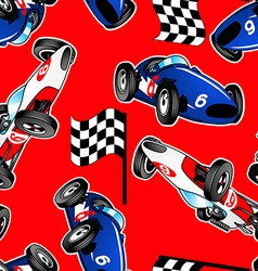 Red white and blue racing cars seamless pattern vector