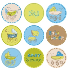 Baby boy shower party set vector