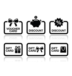 Voucher gift discount card icons set vector