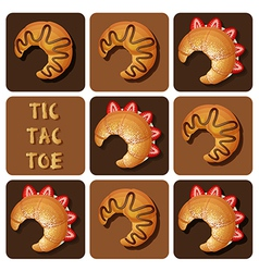 Tic-tac-toe of strawberry and chocolate croissant vector