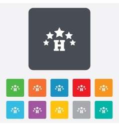 Five star hotel sign icon rest place vector