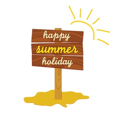 Wooden board with message of summer vector