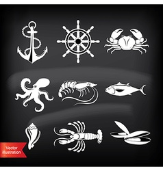 Crab lobster fish octopus set of seafood icons vector